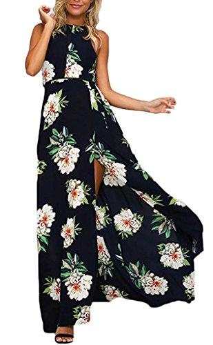 Minetom Damen Chiffon Maxikleid Elegant Blumen Ärmlos Rückenfrei Split Lang Kleid Strandkleid Dunkelblau DE 46 -