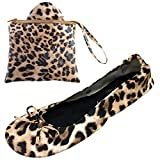 After Party Pumps Leopard Print Size UK 3-4 Ladies Roll up Shoes Fold up Pumps Foldable with Carrier Pouch