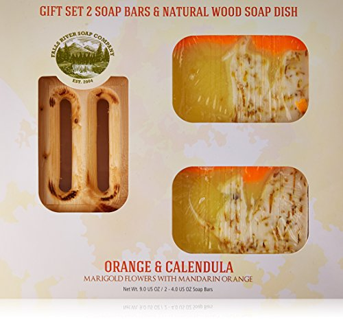 Orange Soap Bar with Calendula Oil - Handmade Organic with Essential Oils. Natural Moisturizing Body Soap for Skin and Face. With Shea Butter, Coconut Oil, Natural Glycerin