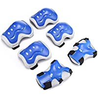 Wenquan,6 unids/Set niños de protección Gear Pad Roller Skateboard(Color:Azul Real)