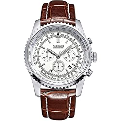 Man, quartz watch, outdoor, multi-function, 6 pointer, Business, Leisure, PU leather, M0558