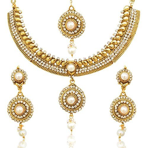 Dancing Girl Pretty Flower Kundan Like Work Faux Pearl Polki Indian Ethnic Necklace Set D16
