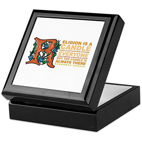 CafePress–Religion ist eine Kerze–Keepsake Box, fertig Hartholz Jewelry Box, Samt Gefüttert Memento Box schwarz