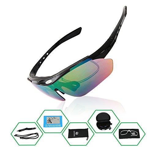 GWELL Unisex Polarisierte Sportbrille 9-er Set UV400 Schutz Radbrille Wechselgläser mit 5 Farben mit Kopfband für Radfahren/Skifahren/Laufen/Angeln usw. (Grün Skibrille Damen)