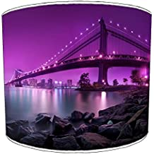 Premier Lampshades cuadro Nueva YORK morado manhaatan puente Lampshades, metal papel, Varios Colores,