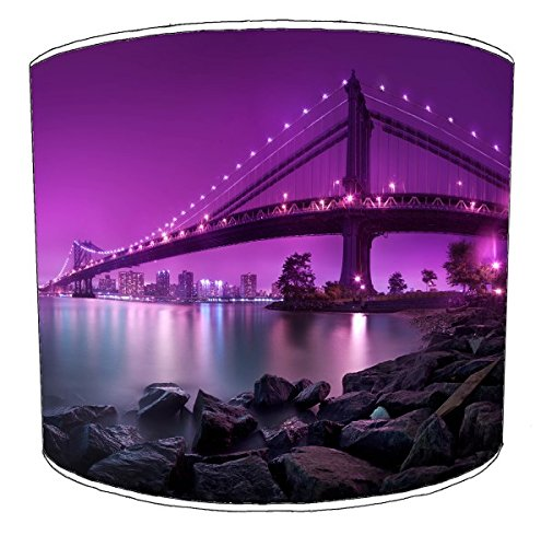 12 Inch Ceiling new york purple manhaatan bridge lampshades by Premier Lampshades