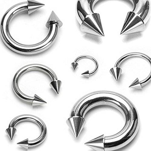 Piercing circulaire septum à pointe en acier chirurgical 316L Taille 1,2 mm x 8 mm x 3x4 mm