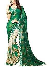Angel Fashion Studio Women's Georgette Saree (Green)