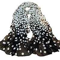 TUDUZ Women Scarves Ladies Dot Print Long Soft Wrap Elegant Shawl Silk Chiffon Scarf (Black, 160 * 50cm)