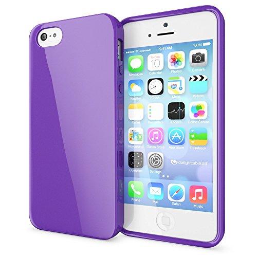 NALIA Handyhülle kompatibel mit iPhone SE 5 5S, Ultra-Slim TPU Silikon Jelly Case, Dünnes Cover Gummi Schutzhülle Skin, Etui Handy-Tasche Telefon-Schale Thin-Fit Back-Cover Smart-Phone Bumper - Lila (Iphone Lila Jelly 5 Case)