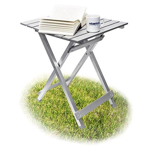Relaxdays Klapptisch, wetterfest, Beistelltisch HBT: 61 x 49,5 x 47,5 cm für den Garten, robustes Aluminium, silber