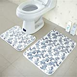 OOFAYWFD Thick Coral Fleece Badezimmer Zweiteilige Badezimmer Anti-Rutsch-Matte WC Zweiteilige Teppich Matte,1