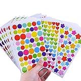 gommettes Enfants, 36 Feuilles d'Stickers Colorés Autocollants en Motifs Coeur, étoiles Points pour Album Photo Scrapbooking Instax Mini Photo DIY Accessoires