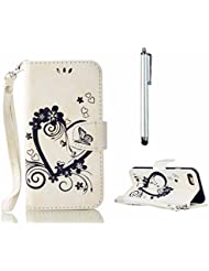 mutouren Noir Housse étui sac pour Wiko Lenny 3Porte-monnaie étui Sacoche Housse étui accessoires Protection en cuir Etui Case Cover + Stylet-Amour Cœur Blanc