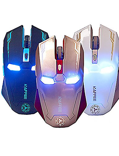 2.4 GHz 2400dpi 3d USB 6 Tasten-Laden des Maus Spiel Cordless Mouse Kabellos Bunte Computer Desktop PC Notebook golden Computer, Cordless-headsets
