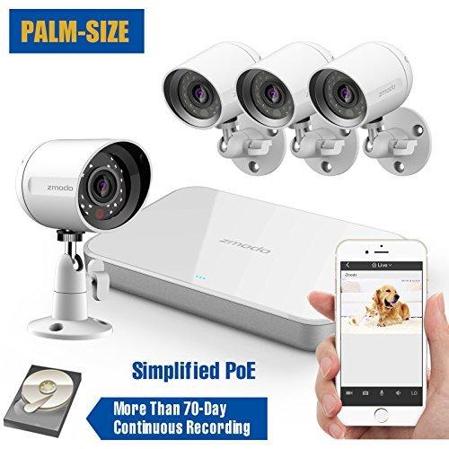 ZMODO 8Kanal SPOE Überwachungskamera HD 720P 1080P HDMI NVR Überwachungssystem mit 8echtem, innen/außen IP65Wetterfest, Bewegungsmelder, nicht Festplatte, ZS-1004-1TB