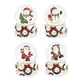 Dekohelden24 Mini-Schneekugel mit Schneemann, weißer Sockel mit Kranz, Maße L/B / H: 4,5 x 4,5 x 6,8 cm Kugel Ø 4,5 cm.