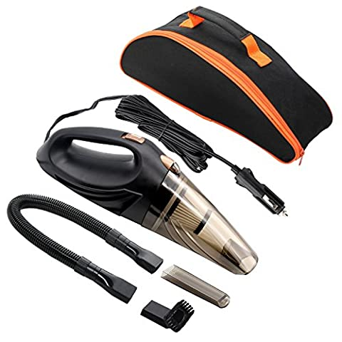 Car Hoover,MKQPOWER Auto Hoover DC 12-Volt 106W Wet&Dry Portable Handheld Auto Vacuum Cleaner, 16.4FT(5M) Power Cord with 2 HEPA Filters, One Carry Bag, One Interior Car Detail Duster