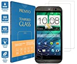 PREMYO 2 Stück Panzerglas für HTC One M8 Schutzglas Display-Schutzfolie für HTC One M8 Blasenfrei HD-Klar 9H 2,5D Echt-Glas Folie kompatibel für HTC One M8 Gegen Kratzer Fingerabdrücke