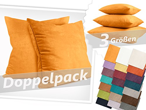 Doppelpack Kissenhüllen in Wildleder-Optik - zum Sparpreis - in 21 fantastischen Farben und 3 Größen (14 Farben in 60 x 60 cm) - angenehm weich & überaus robust, 60 x 60 cm, safrangelb (Sitzkissen Rost)