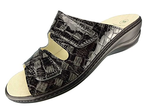Algemare Damen Leder Pantolette 'Blei Kroko' mit Algen-Kork Wechselfußbett Keilpantolette Made in Germany 1447_2714, Größe:38
