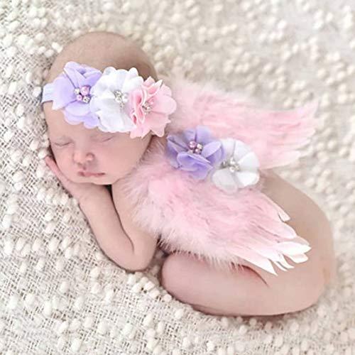 Wings Feather Kostüm - NROCF Baby Foto Requisiten Neugeborenen Fotografie Prop, Angel Feather Wings Outfit Kostüm mit Haarschmuck Pink, Foto-Shooting Prinzessin Kleidung