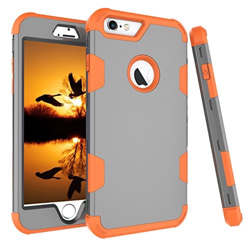 iPhone 6S Plus Fall, aoker iPhone 6Plus Case, Heavy Duty stoßfest [Perfect] Hard Kunststoff + Weich Silikon Gummi Armor Defender Best Schutzhülle für iPhone 6S Plus und iPhone 6Plus, Gray Orange - Otterbox Sechs Gelb Iphone