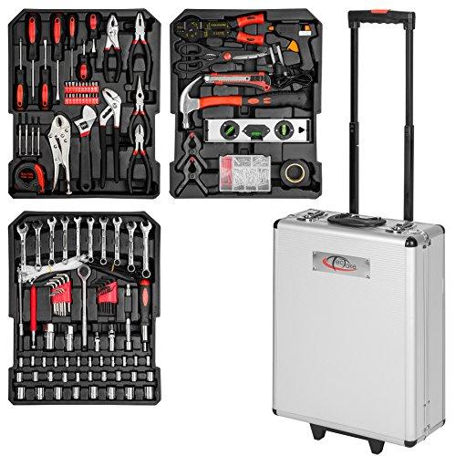 TecTake 377 teiliger Werkzeugkoffer mit Werkzeug bestückt   3 Schubladen   37x16x98 cm