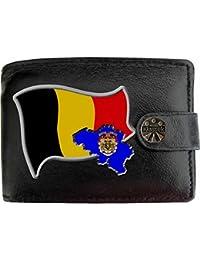 860ca28371a4 Belgique Drapeau Carte KLASSEK Portefeuille Homme Porte Monnaie. Belges  Armoiries Cuir Noir Véritable Belgique Cadeau