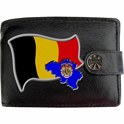 Belgien Flagge KLASSEK Herren Geldbörse Portemonnaie Brieftasche Belgische Wappen aus echtem Leder schwarz Belgique Geschenk Präsent Mit Metallbox