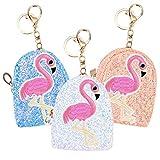 YoungRich 3PCS Flamingo Mini Pailletten Geldbörse Klein Brieftasche Pailetten Portemonnaie mit Schlüsselring PU Reißverschluss Clutch Kartenhalter Geldbeutel für Mädchen 3.1x2x4 Zoll Rosa Weiß Blau