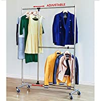 Tatkraft Marvel Heavy Duty Clothes Rail, Mobile Wardrobe with Adjustable Hanging Rails for Clothes, Strong Stable Clothes Rack with Wheels, Chromed Steel