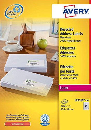 Avery LR7160-100 Etichette Riciclate per Indirizzi,