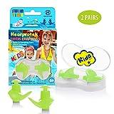 Hearprotek Bouchons d'oreille de Natation, 2 Paires de Bouchons imperméables en Silicone réutilisables pour Piscine-Mer-Bain-Natation & Sports Aquatiques Taille Enfant (Vert)