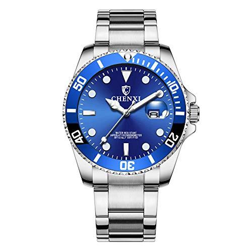Herrenuhren Submariner Stil Kalender Quarz Armbanduhren für Herren Edelstahlband Klassisch, Blau (Armbanduhr Rolex Blau)