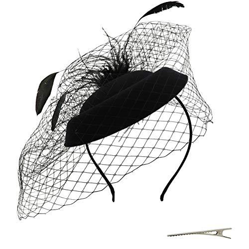 Umeepar Damen Pillbox Fascinator Hut Hochzeit Tea Party Hüte mit Federn Schleier Stirnband Clip (Schwarz) (Hut Schwarzen Mit Schleier)