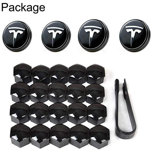 Topfit Auto Radnaben Mittelkappen Abdeckung Basis mit Blauer LED Licht Radkappe Kit Reifen Ventilkappe Abdeckung Logo Styling Kombipaket für Tesla Modell S Modell X Modell 3 (T Logo)