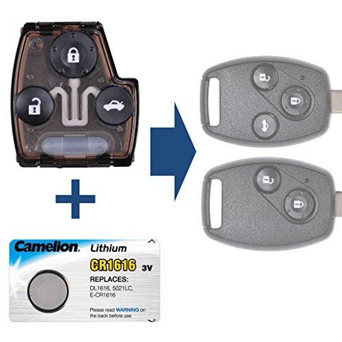 mt-key Radio Container Alloggiamento chiave + 1X CR1616batteria per Honda Accord Civic Jazz FR-V CR-V