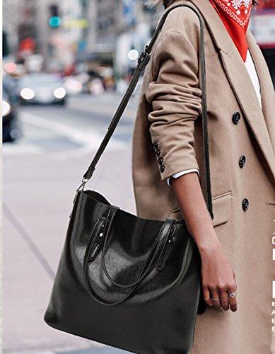 Rovanci Damen Handtasche Leder Umhängetasche Vintage Schultertasche große Shopper Taschen Green Black