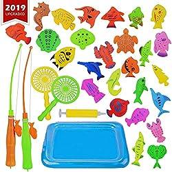 KidsHobby Juego de Pesca Magnética(26 Peces+2 Cañas) - Juguete Educativa&Interactivo de Pesca con Caña - Juguetes de Piscina & Bañera para Niños - Juego Acción&uguete RefleJjo para Bebé/Chicos/Chicas