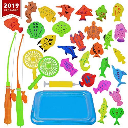 Canne da Pesca Giocattolo, KidsHobby 30 pezzi Fishing Game,Magnetico Giocattolo da bagno canne da pesca giocattolo Gioco di pesca Grande regalo per i bambini