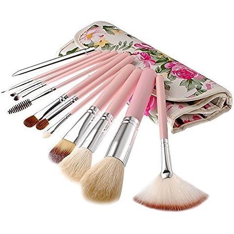 VDOTT® 12 Pezzi morbido set di pennelli, professionale pennelli per trucco, strumenti per trucco cosmetici, concealer brush/blusher brush/nose shadow brush/cheek shadow brush/lips brush/eyeshadow brush/mascara brush/eyeline brush/eyebrows brush/foundation powder brush, makeup brushes set, con PU borsa, Regalo per le ragazze, (rosa)