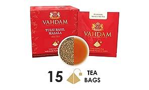 Tulsi Basil Masala Chai Tea 15 Tea Bags, Long Leaf Pyramid Masala Chai Tea Bags 100% Pure Natural Ingredients, Traditional Blend From Indian Wisdom, Masala Chai Tea -Black Tea,Healthy Herb