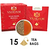Tulsi Basil Masala Chai Tea 15 Tea Bags, Long Leaf Pyramid Masala Chai Tea Bags 100% Pure Natural Ingredients, Traditional Blend From Indian Wisdom, Masala Chai Tea -Black Tea,Healthy Herb