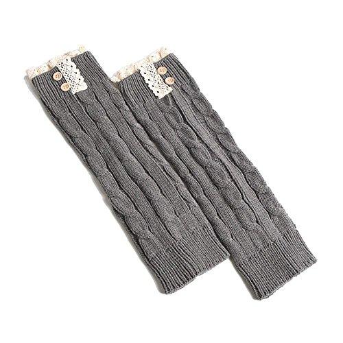 TININNA Damen Frauen Winter Vintage Spitze Knopf Strick Stulpen Gestrickt Beinstulpen Beinwärmer Strümpfe Grau EINWEG ()