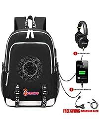 de48397f48a9a Cosstars Cardcaptor Sakura Anime Backpack Schultasche Laptop-Rucksack mit  USB-Ladeanschluss und Kopfhöreranschluss