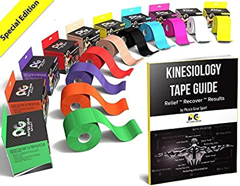 Kinesiology Tape (2 Pack or 1 Pack) Physix Gear Sport, 5cm x 5m Roll Uncut, Best Waterproof Muscle Support Adhesive, Physio Therapeutic Aid, Free 82pg E-Guide - YELLOW 1