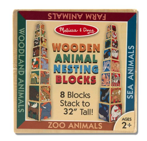 Melissa & Doug Wooden Animal Nesting Blocks - 8 Blocks Stack to Almost 1 meter Tall