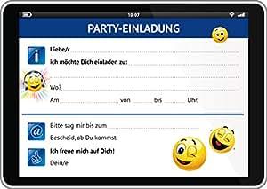 Tablet-Einladungen (Set 1): 12-er-Set lustige Tablet