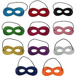 knowing 11pcs Masques de Super-Héros,Masque de Feutre Masques,Masques de Partie Demi-Masques pour Votre Mascarade, fête d'anniversaire, Noël, Halloween, Dress-up, Multicolor